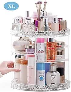 Lumcrissy Makeup Organizer, 360-Degree Rotating Adjustable Multi-Function Acrylic Cosmetic Storage (L)