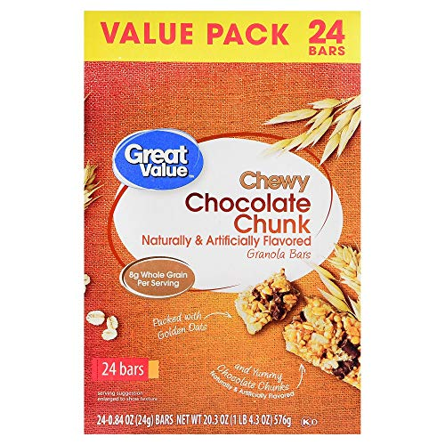 3 of pack of 24 ct. Great Value Chewy Chocolate Chunk Granola Bars, Value Pack, 20.3 oz