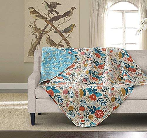 Virah Bella Greta Reversible Flower Quilt Throw Blanket