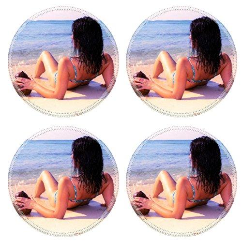Liili Round Coasters Woman sipping cocktail on the sandy tropical beach Photo - Stare Bikini