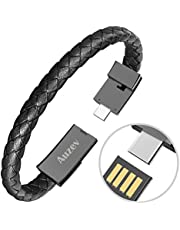 Auzev Type-C Leather Bracelet Link Charging Cable Braided Wrist Band USB Sync Data Charger Cord for Samsung Galaxy