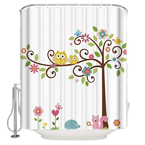 YOKOU Animal Theme Shower Curtain Cute Owls on The Trees with Squirrel Hedgehog Polyester Fabric Bathroom Decor Sets with Hooks Standard Bath Decorations 60