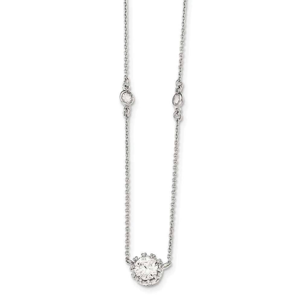ext CoutureJewelers Sterling Silver Polished CZ w//2in Necklace