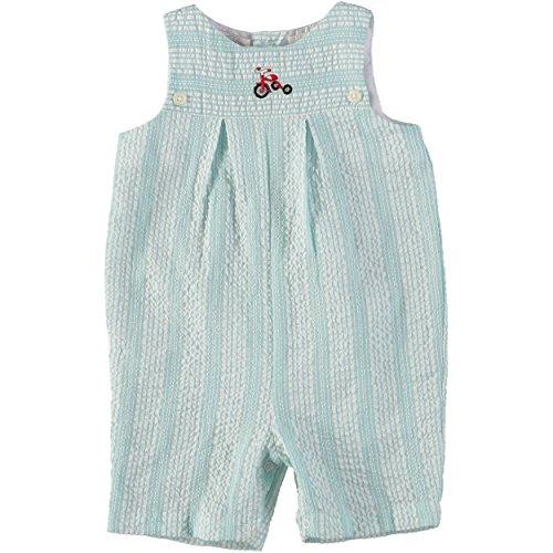 Baby Boy Short Romper Smocked Tricycle Wheels on Sea-Foam Green Seer Sucker Fabric ()