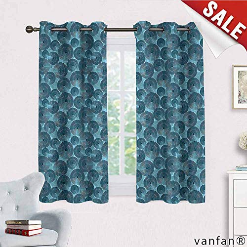 (Big datastore Modern Curtain Wand,Nested Circles with Dots in Repeating Form Rounded Circular Tile Pattern Art Illustration for Kids Youth Room,Blue W72 x)