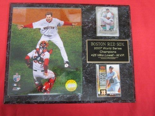 2007 Red Sox World Series Champions 2 Card Collector Plaque #3 w/8x10 Photo VARITEK PAPELBON