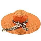 Beach Cap Women Print Two-Side Big Brim Straw Hat Sun Floppy Wide Brim Hats Orange