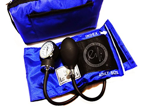 Elite Medical Instruments Adult Cuff Deluxe Aneroid Sphygmomanometer Blood Pressure Monitor, #217, Royal Blue