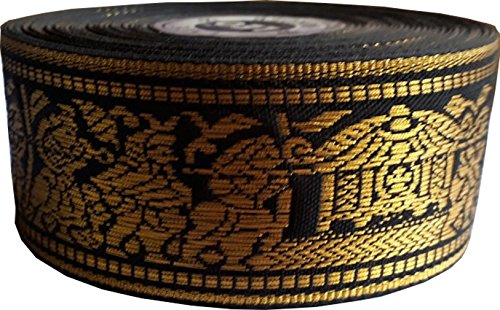KVR Nylon Silk Woven Jacquard Embroidered ribbon Lace 16 yard in a roll, 1.3 inch wide for art craft decoration and gift packing (Personalised Ribbon)
