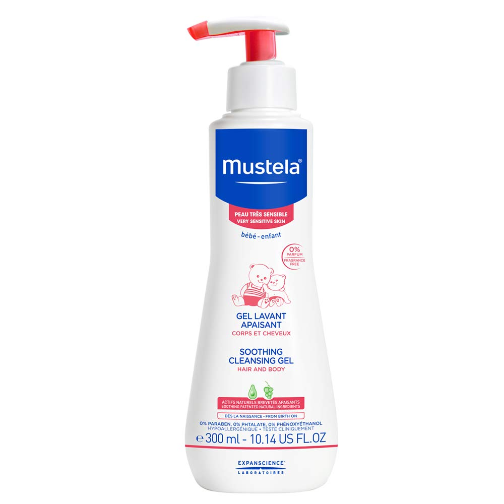 Mustela Soothing Cleansing Gel for Very Sensitive Skin, Baby Body Wash, Fragrance-Free, with Natural Avocado Perseose, Various Sizes