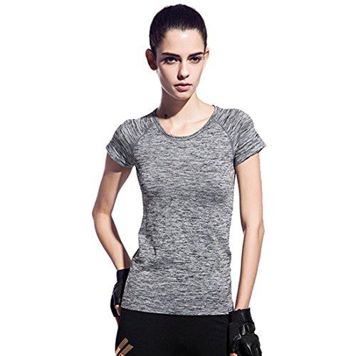 Encounter Damen T-Shirt Sport Shirt Space-Dye Shirts Sportbekleidung Laufshirt Freizeit Top Oberteil Kurzarm Rundhals (Grau, S)