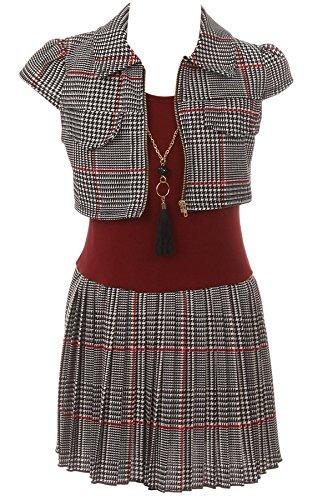 BNY Corner Big Girl 3 Pieces Tank Top Dress Jacket Graduation Flower Girl Dress USA Burgundy 10 JKS 2138 by BNY Corner