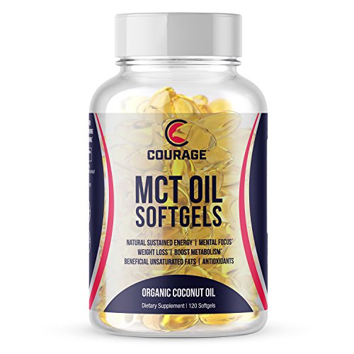 MCT Oil Capsules - Softgels - Keto Diet Premium C8 C10 MCT Coconut Oil For Exogenous Ketones - Convenient Pills For Quick Energy, Mental Focus, Weight Loss And Metabolism Boost - 1000mg 120 Count. by Courage Nutrition