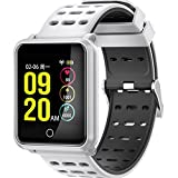 MIYA LTD Fitness Tracker Men Women Bluetooth 4.2 Smart Watch IP68 Waterproof Blood Pressure Heart Rate Monitor Calls SMS Reminder Smart Watch for Android and iso Phones-White