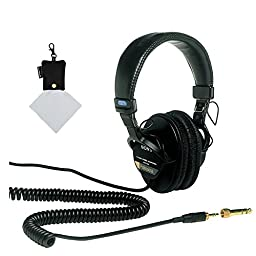 Sony MDR7506 Professional Large Diaphragm Headphone + Polaroid Micro Fiber Cleaning Cloth With Storage Pouch