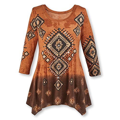 Women's Diamond Aztec Sharkbite Tunic Top Southwestern Style, Three Quarter Sleeves, Brown Ombre, Brown, Xx-Large (Western Clothing South)