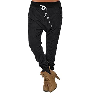 9ca9b1ed6caee4 Womens Ladies Drop Low Crotch Harem Pants Trousers Drawstring Waist Baggy  Harem Trouser Leggings (Tag