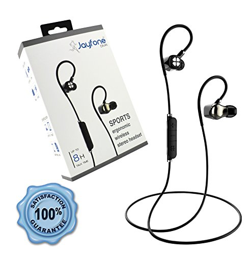Jayfone Bluetooth Wireless Headset with Noise Cancelling HD Stereo Earphones and Mic, Best Headphones for Music and Cell Phone Calls, Sweatproof Secure Fit Sports Earbuds for Running and Gym Workout