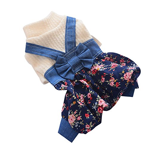 Adarl Cute Pet Dog Cotton Jumpsuit Bowknot Denim Bloomers Rompers Costumes for Puppy Dog Cat Red/XS