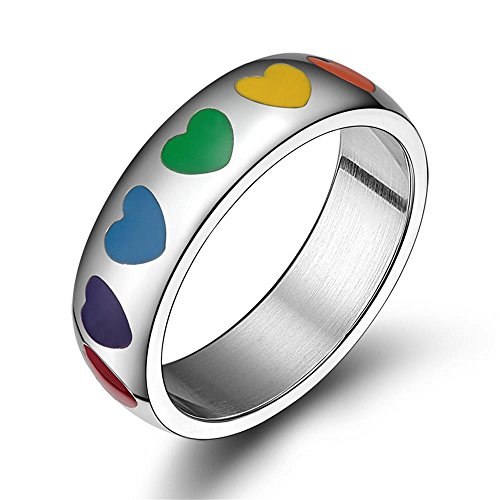 (6mm Stainless Steel Enamel Heart Rainbow Ring LGBT Lesbian Gay Pride Wedding Band,Size 8)