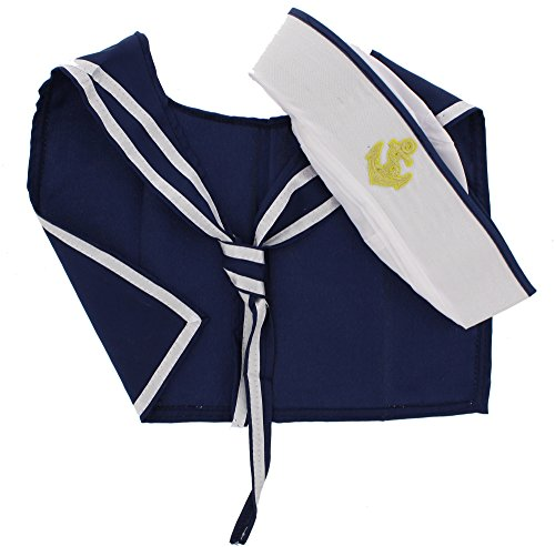 Zac's Alter Ego® Men's Fancy Dress Sailor Hat & Scarf Set One Size White/Navy Blue