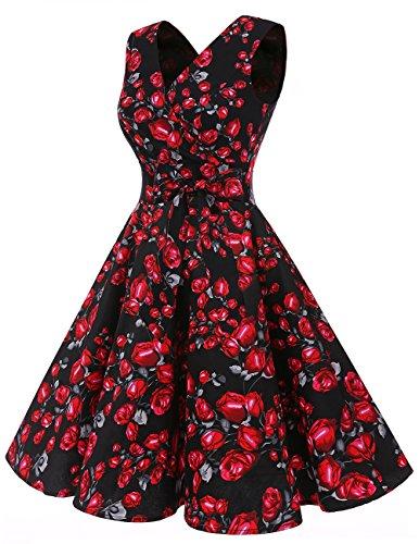 Dresstells®Vestido De Estilo 1950 Corto Mujer Vintage Retro Escote En Pico Con Cinturón Black Rose