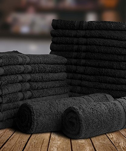 Utopia Towels Cotton Bleach Proof Salon Towels (24-Pack, Black,16 x 27 inches) - Bleach Safe Gym Hand Towel by Utopia Towels (Image #5)