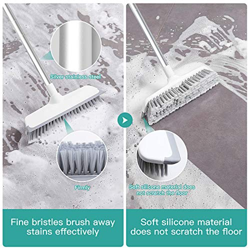 2 in 1 Cleaning Scrub Shower Brush, Soft Durable Shower Floor Scrubber with Adjustbale Long Handle, Tub and Tile Brush Fold Wiper Brush for Bathroom, Patio, Kitchen, Wall, Deck and Floor