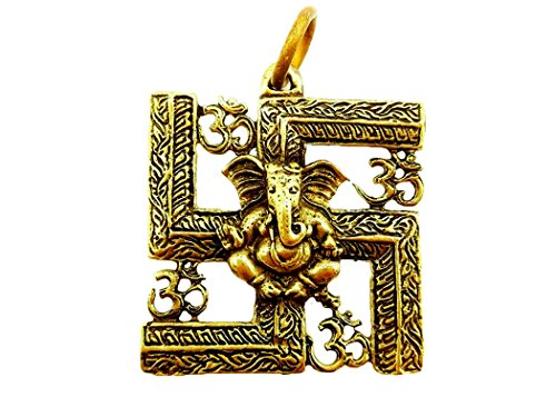 [Brassy lord ganesh god of beginning success om ohm aum trimurti sign hindu pendant amulet box & necklace] (Secret Garden Musical Costumes)