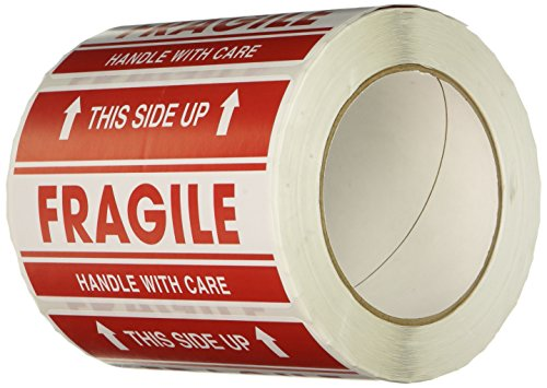 "TapeCase SHIPLBL-042 Printed Shipping Tape - [Pack of 500 Labels] 5 in. (W) x 3 in. (H) Adhesive Sticker Tape with ""Fragile This Side up"" Lettering. Labels and Adhesives from TapeCase"