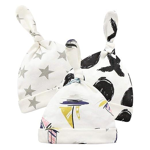 568514b58b3 Peicees 3 Pack Newborn Hats for Girls Boys Babies Soft 100% Organic Cotton  Infant Baby