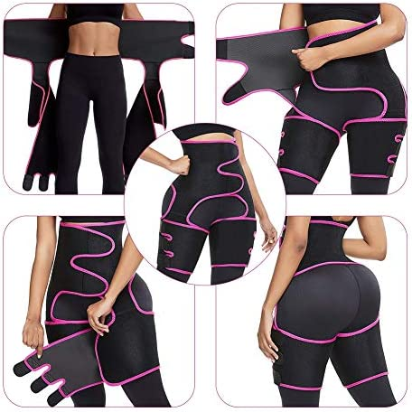 SCOBUTY Thigh Trimmer, Waist Trainer, High Waist and Thigh Trimmer, 3 in 1 Weight Loss Butt Lifter Waist Trainer Shaping Slimming Support, Hips Belt Trimmer Body Shaper (Pink)