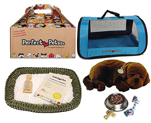 Perfect Petzzz Chocolate Lab Plush with Blue Tote For Plush Breathing Pet and Dog Food, Treats, and Chew Toy