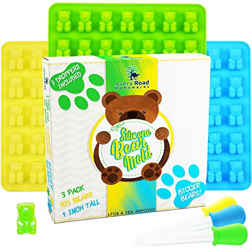 BIGGER Gummy Bear Mold Silicone 3 PACK - 3 DROPPERS + RECIPE PDF ~ LARGE LFGB FDA Gummy Bears molds non BPA Candy Molds - BIG 1 Inch Gummie Bears Ice Cube Chocolate Gelatin Trays (Bigger Bears)