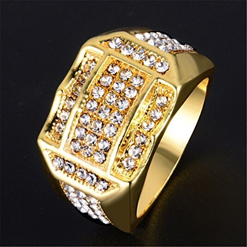 Londony ♪❤ Diamond Insert Gold Rings for Men Business Ring Band Rings cJewelry Gift