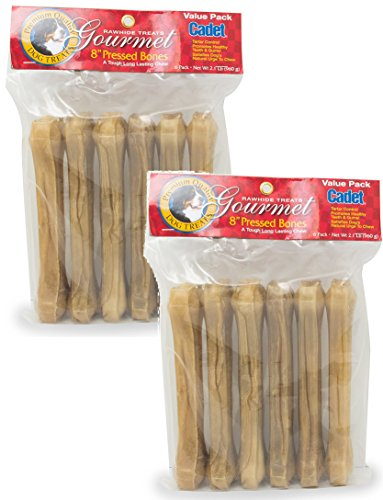 (2 Pack) Pressed Rawhide Bones, 8 Inches each (2 Packages each Containing 6 Bones / 12 Total)