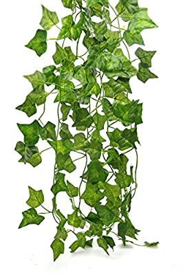 Artificial Hanging Plant 80ft-12strands Silk English Ivy Vine Garland Arrangement Faux Fake Flower Green Leaves Wreath Home Kitchen Indoor Outside Garden Office Wedding Wall Banister Decor