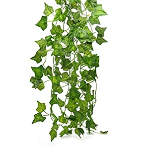 Artificial Hanging Plant 80ft-12strands Silk English Ivy Vine Garland Arrangement Faux Fake Flower Green Leaves Wreath Home Kitchen Indoor Outside Garden Office Wedding Wall Banister Decor 1