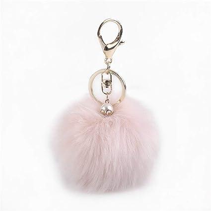 Llavero de pelota de pelo con colgante y perla artificial ...