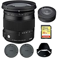 Sigma 17-70mm F2.8-4 DC Macro OS HSM Lens for Nikon Mount Digital SLR Cameras (884306) with Sigma USB Dock for Nikon Lens & Lexar 32GB Professional 1000x SDHC Class 10 UHS-II Memory Card