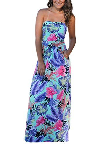Womens Tropical Print Dress (HOTAPEI Strapless Vintage Floral Print Party Long Maxi Dresses For Women Mint Tropical XL)