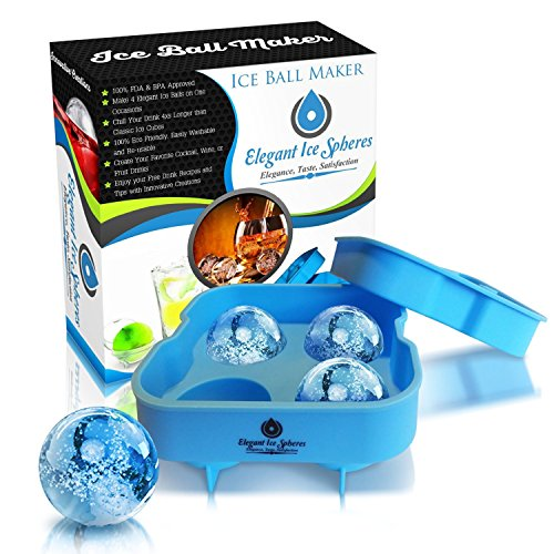 Blue Flexible Silicone Whiskey Ice Ball Maker - Quality Ice Sphere Mold keeps your Whiskey, Bourbon and Non-Alcohol Drinks Chilled Longer (Mint Fillings Various)