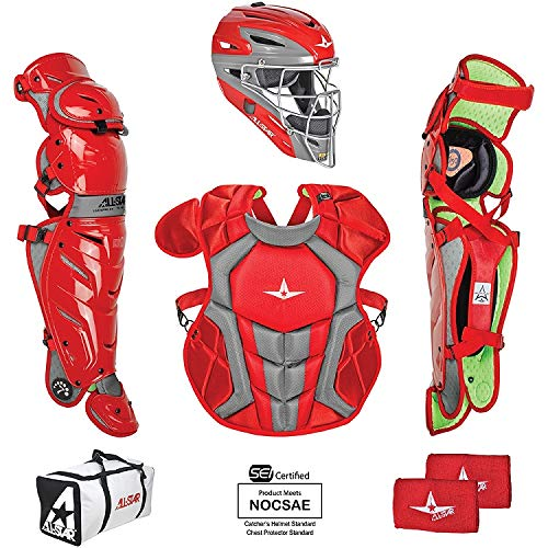 All-Star System7 Axis Intermediate Catchers Set Scarlet/Grey