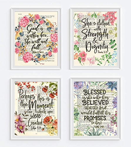Psalm 46:5, Proverbs 31:25, Esther 4:14, Luke 1:45 Christian ART PRINTS for her, Set of 4, UNFRAMED, Bible verse scripture wall decor poster, 8x10 inches ()