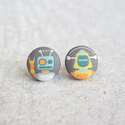 Robots Fabric Button Earrings