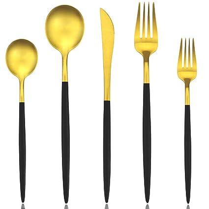Conjunto de cubertería con 4 piezas negro y oro mate