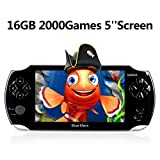 Handheld Game Console,16GB 5 Inch Screen2000 Classic Game, Support Video & Music Playing, Built-in 3M Camera, in 1USB Charge, or Birthday Gift for Kids (Black)