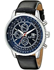 August Steiner Mens AS8189BU Silver Multifunction Quartz Watch with Blue Dial and Black Leather Strap