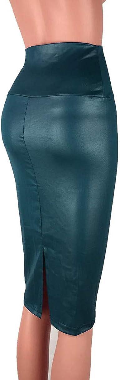 QIjinlok Faldas de Cuero Mujer Talla Grande Falda Tubo Mujer ...