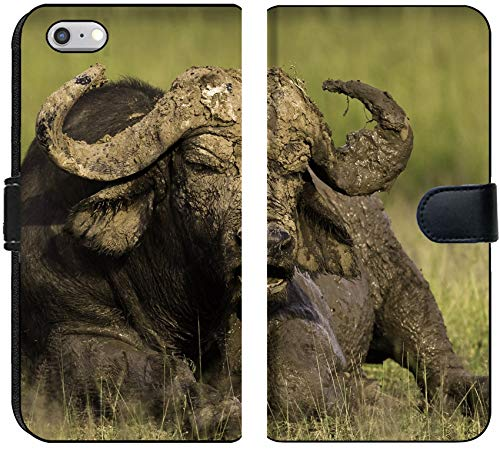 Liili iPhone 6 and iPhone 6S Flip Micro Fabric Wallet Case African Cape Buffalo Photo 20215705 ()